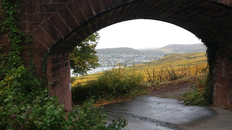 Ein Brückenbogen aus Bachstein gibt den Blick auf das Rheintal frei